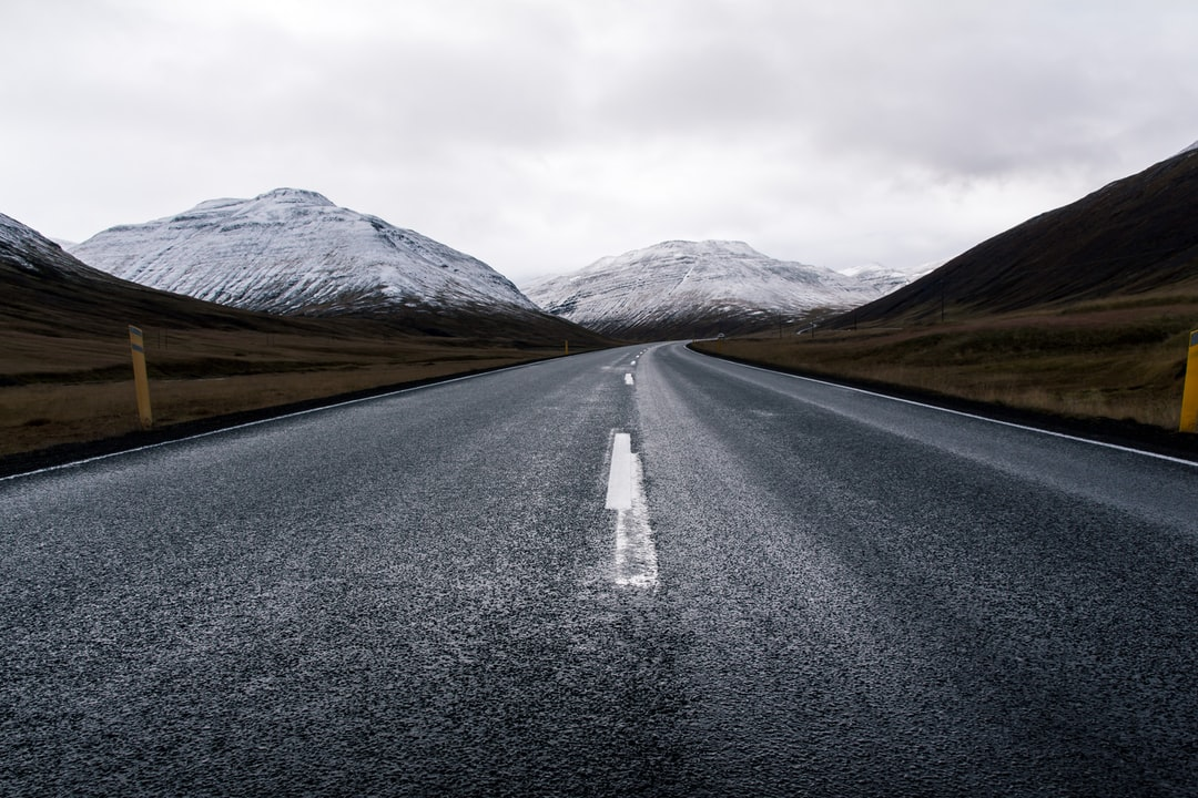 A close up of a mountain road